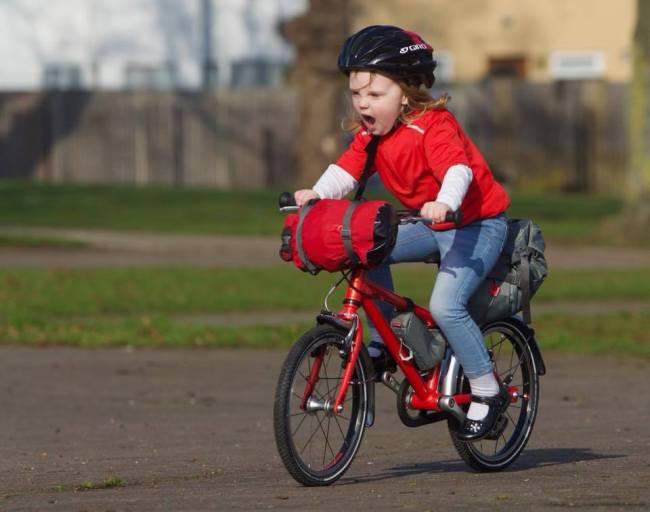 Ruth going bikepacking on an Islabikes Cnoc