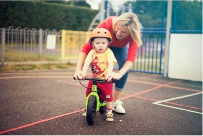 Frog Tadpole Mini in use - one of the best balance bikes for a 1 year old toddler