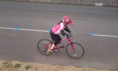 7 year old Jess practising her cycling skills