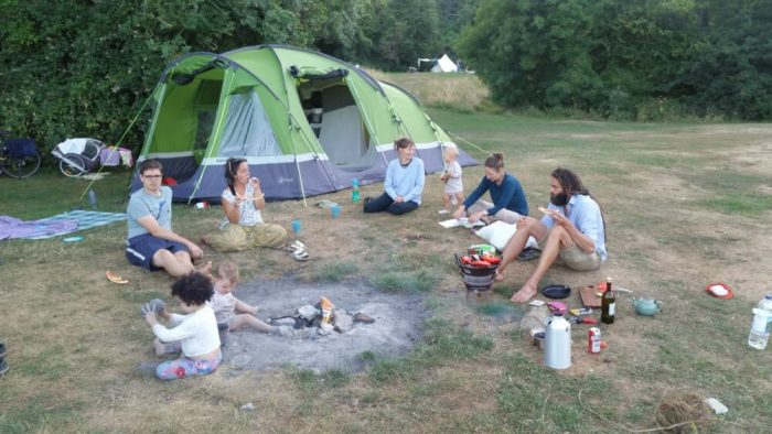 Bikepacking and camping with kids using a cargo bike at Thistledown campsite near Nympsfield
