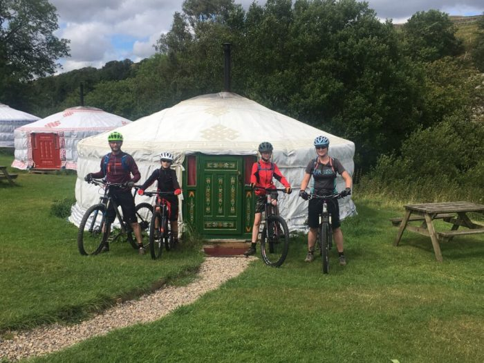 Setting off on the Swale Trail MTB ride from Swaledale Yurts Keld