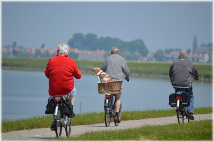 Grandparents cycling on e-bikes