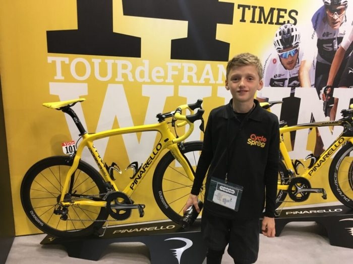 With Geraint Thomas's bike at the 2018 Cycle Show