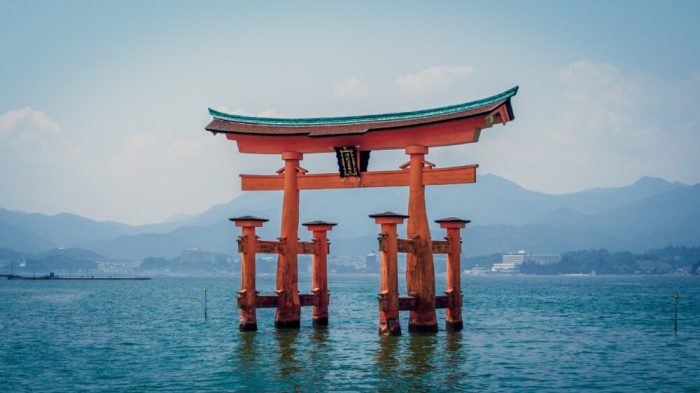 Shinto shrine Itsukushima, a UNESCO World Heritage Site near Hiroshima in Japan