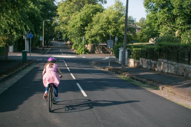 Girls on bicycles - cycling to school