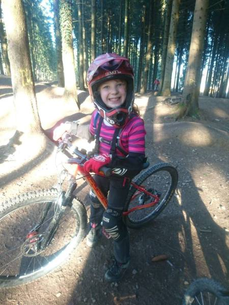 Girls on mountain bikes