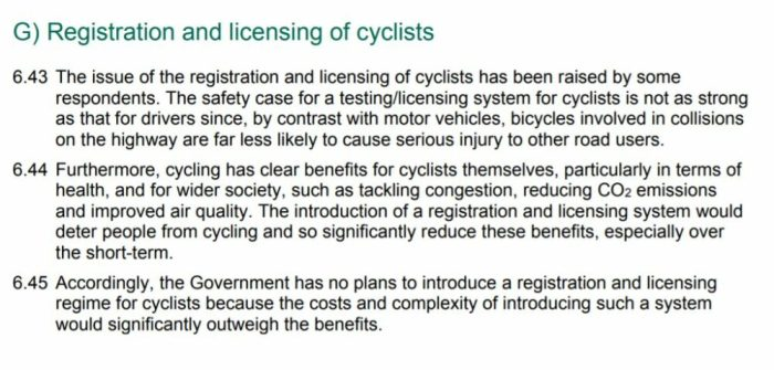 Registration and licensing of cyclists - Government response