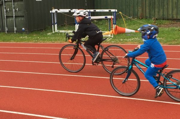Riding a Frog 67 Road Bike at Go-Ride training session on track