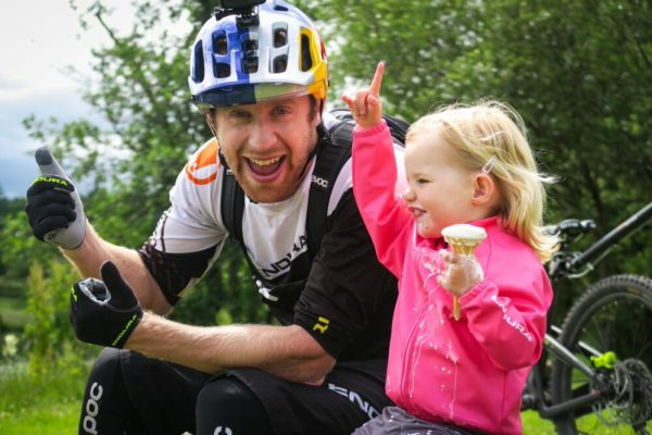Danny MacAskill Day Care - pulling kids trailer behind him
