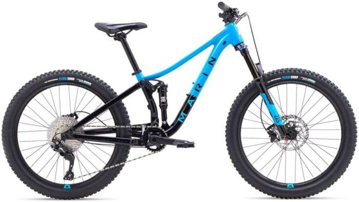 Marin Hawk Hill Jr kids full suspension bike in blue and black