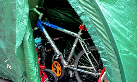 Bike cave storage in green