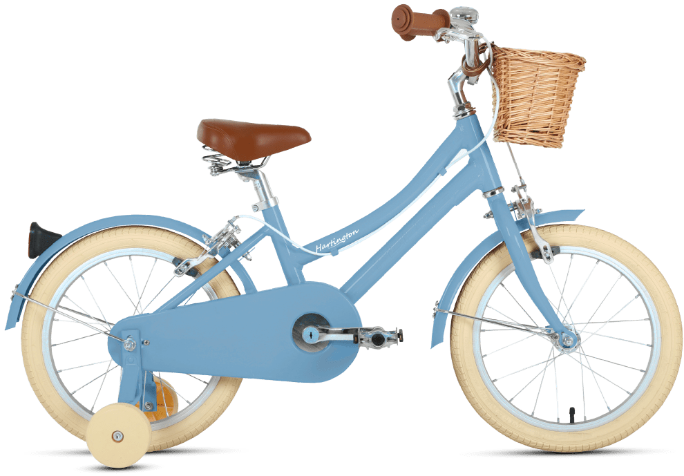 Hartington 16 kids Dutch style city bike with wicker basket for ages 4 to 6 years