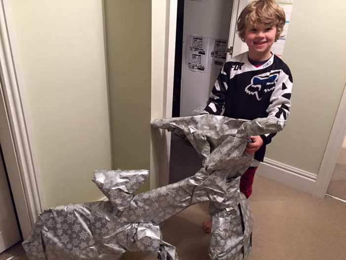 How to wrap a BMX kids bike for Christmas
