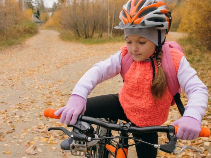 Girl wearing helmet liner