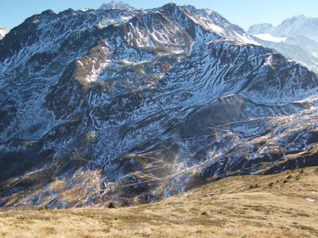 Trails down far side of Col de Balme