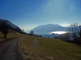 Lac du Bourget on road to Col du Sapenay