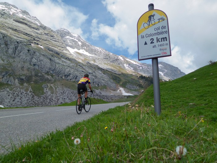 Most climbs here have cycling kilometre markers