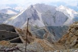 view of old barracks and Col du Chaberton far below