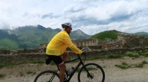 Cycling past ruins