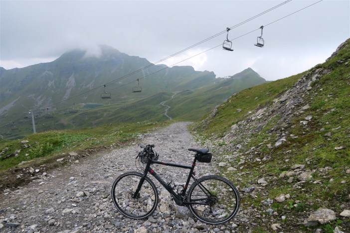 Nearing Col du Fornet.  Looking down.