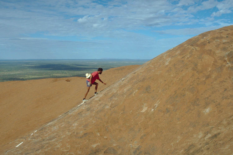 steep climb to the top of Uluru
