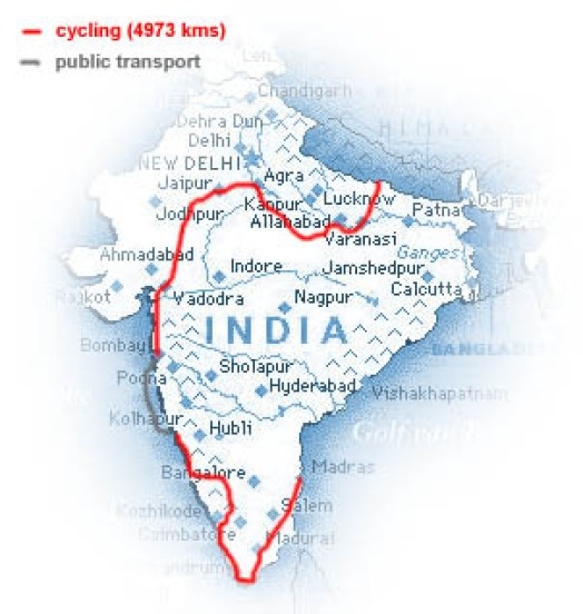 our route in India