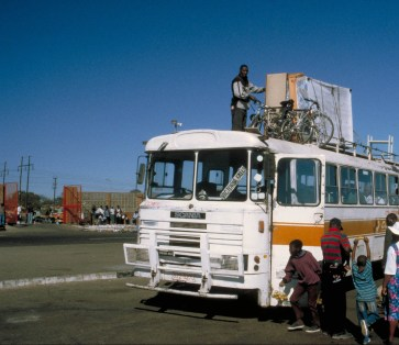 Bikes on a bus in Zimbabwe