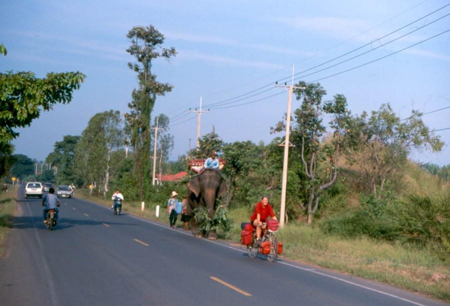 meeting an elephant on the road near Surin