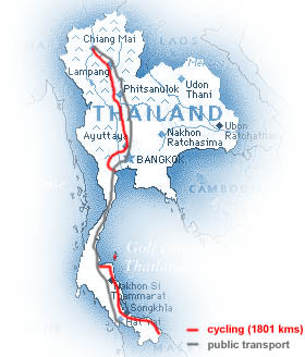 our route in Thailand