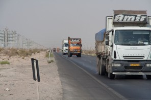 Trucks on the Nain Yazf highway