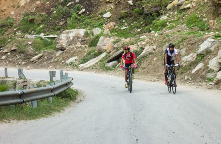David and Sumit riding up Rohtang La