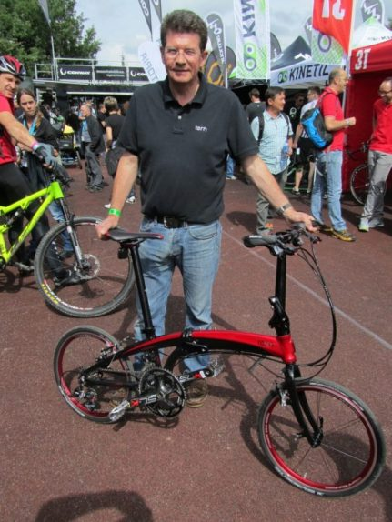 Mark Bickerton, MD Tern Folding Bikes with his top of the range Tern Verge X20. SRAM 20 speed. 8.6 kg.