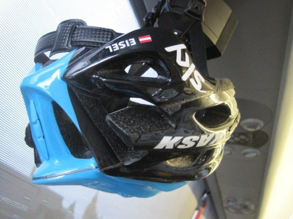 Bernie Eisel's spare helmet waits patiently for the call to arms - Image ©Paul Harris / Cycling Shorts.