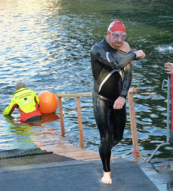 Exiting the 3.8 km river swim - 1 hour 26 mins or 2 mins 16 / 100m