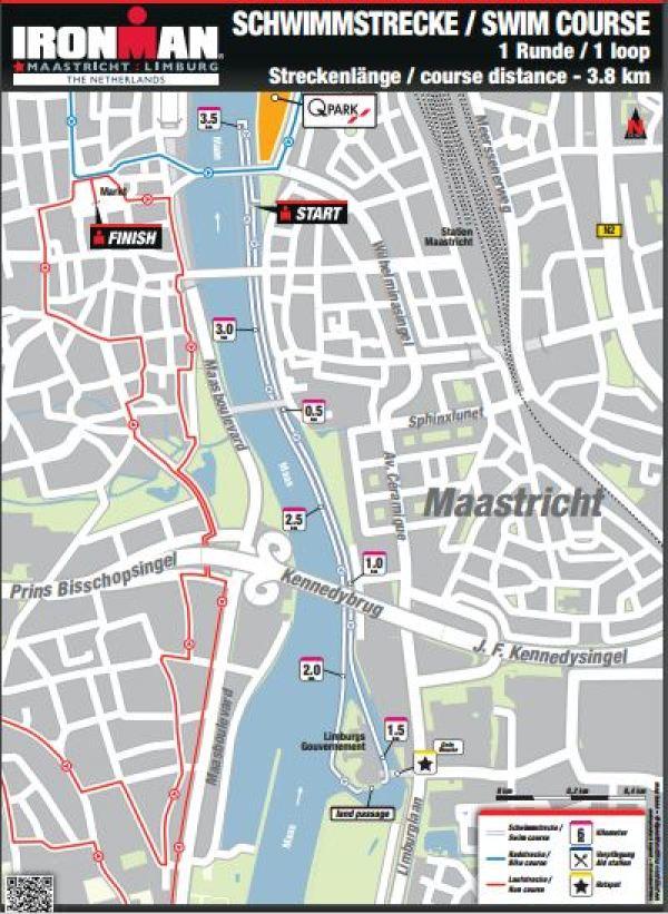 3.8 km Maastricht Ironman swim course, Netherlands