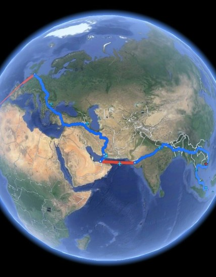 This is what my actual route through Europe, Middle East and Asia looks like on Google Earth