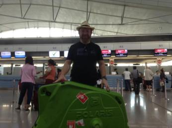At the airport with cycle case - bicycle tour flight costs
