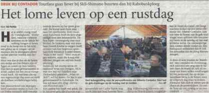 Ons bezoek aan de persconferentie van de Rabobank in de Tour van 2009 bereikte het Limburgs Dagblad (foto: © Cyclingstory.nl)