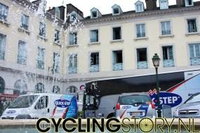We begonnen in Pau bij Quick Step. De renners zitten hier altijd (Tour of trainingen) in hetzelfde hotel en is dus handig te vinden (foto: © Laurens Alblas/Cyclingstory.nl)