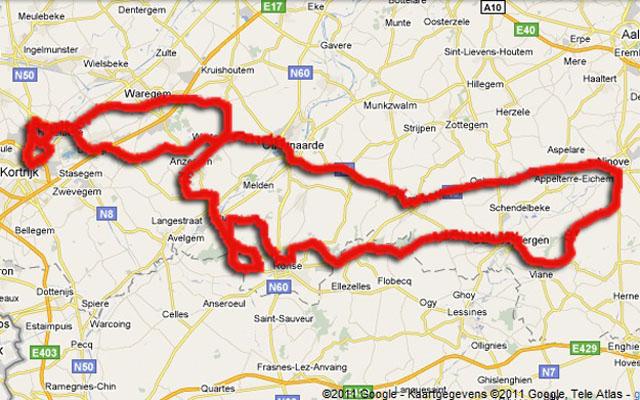 Het parcours van Kuurne-Brussel-Kuurne. (foto: © Google)