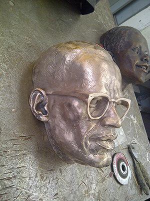Bronze Casting of Malcolm X Prepped For Patina