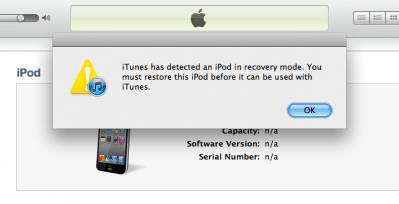 iTunes recovery pop-up