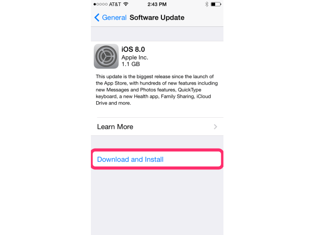 upgrade to ios 8.1-download & install