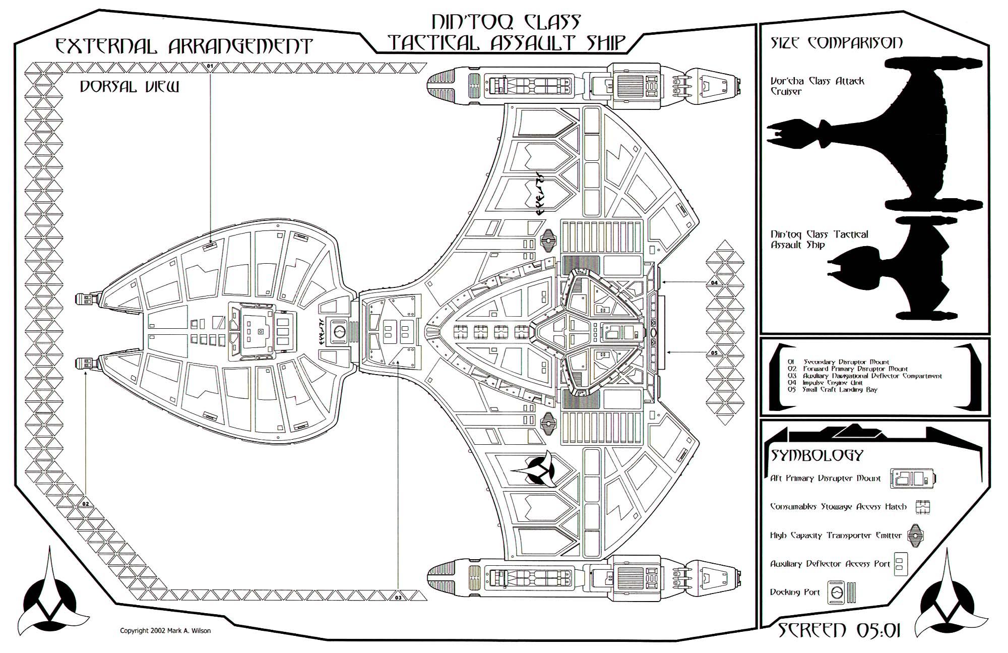 Star Trek Blueprints Klingon Nin Toq Class Tactical Assault Ship
