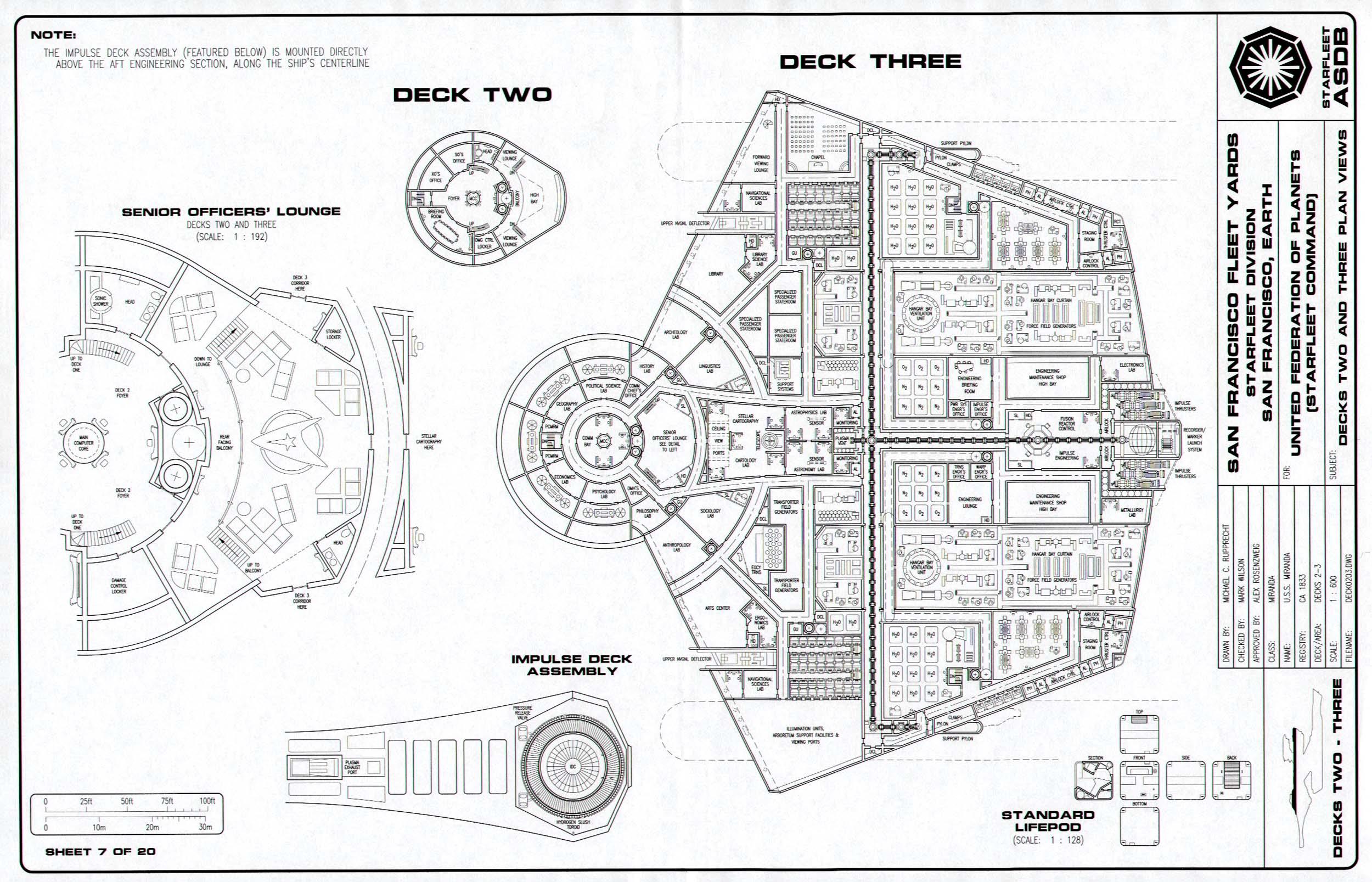 Star Trek Blueprints Miranda Class Cruiser General Plans