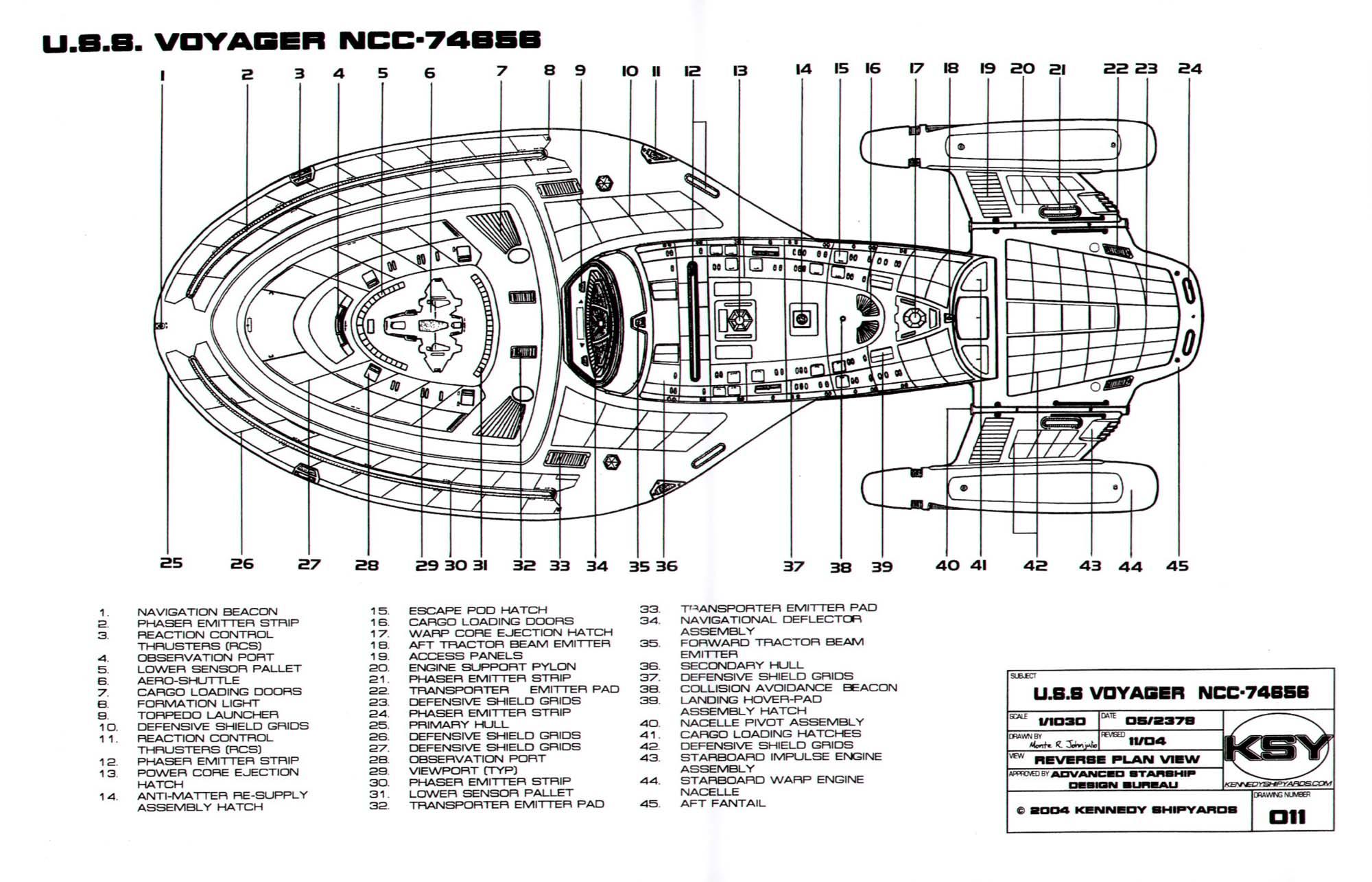 Star Trek Blueprints Intrepid Class Starship U S S