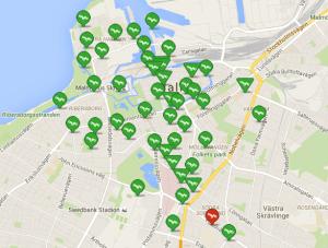 Malmö Hyrcyklar stationer