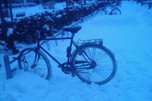 Snart inte ensam cykel i snöstället