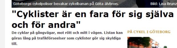Cyklister en fara för sig själva GP 15 aug 2013
