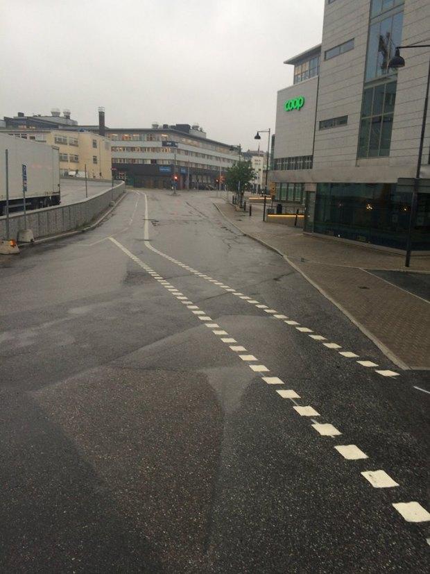Cykelfält tvärs över vägen